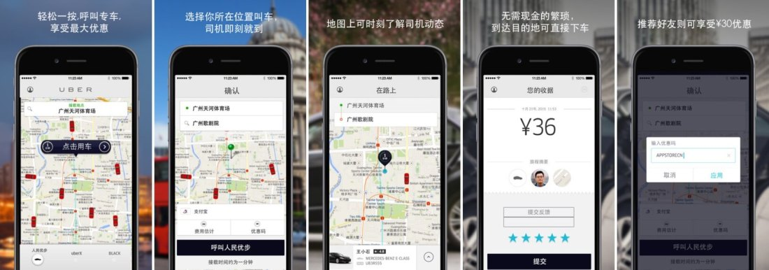 Uber screen shots in chinese for Playstore Optimisation